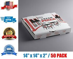Pizza Box 14 X 14 X 2 - 50/case White Corrugated Free And Fast Shipping