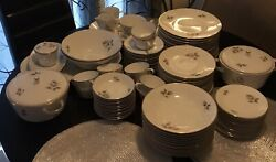 Hutschenreuther Gray Rose China Set. Service For 12 + Extras.