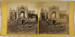 Standeacuterandeacuteo Scotland Melrose Abbey From The East Vintage Stereo Card Tirage Alb