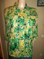 SAMANTHA GREY 3 4 SLEEVE FITTED FLORAL SHIRT SIZE 12 NEW $12.99