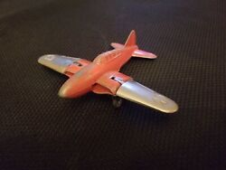 Vintage Hubley Kiddie Toy Jet Fighter Airplane Folding Wings Used Condition