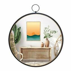 Black Round Mirrors for Wall Decor Brushed Metal Frame Wall Mirror for Bedroom