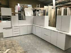 New Light Grey Gloss Complete Kitchen Display With Light Grey Matching Units