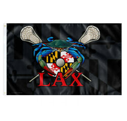 Blue Crab Maryland LAX Large Banner College RoomDecor Pary Flag 3X5FT