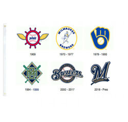 Milwaukee Brewers Logo History Banner College RoomDecor Pary Flag 3X5FT