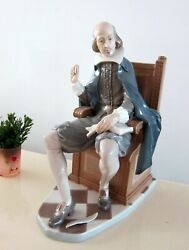 Rare Lladro Shakespeare 1338 Large Glazed Statue Figurine Signed Made In Spain
