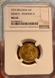 20 Francs 1914 French Position A Belgium Gold Ngc Ms64