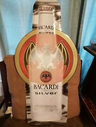bacardi Silver Tin Metal Sign 35' X 17' Large Litho Palmer Products.