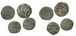 India Delhi Sultanate Horse And Bull 1193-1290 Lot Of 4 Coins 4-5gms