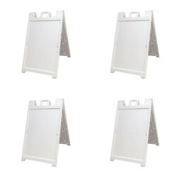 Plasticade Deluxe Signicade Portable Folding Double Sided Sign White 4 Pack