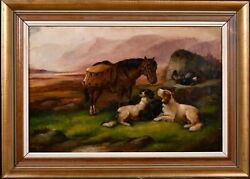 Robert Cleminson 1864-1903 Large Signed Oil - Highland Pony And Dogs Landscape