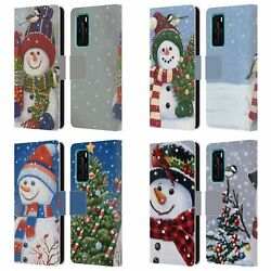 Official Christmas Mix Snowman Leather Book Wallet Case Cover For Huawei Phones