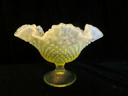 Fenton Topaz Opalescent Large 10 Hobnail Double Crimped Footed Bowl