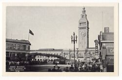 San Francisco California C1940's Ferry Building, Clock Tower, Crowds, Dairy