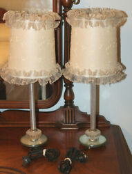 Vintage 1040's Boudoir Vanity Dressing Table Lamps With Original Shades