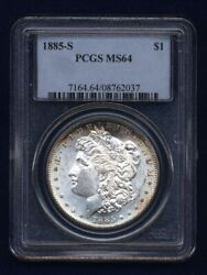 1885-s Morgan Silver Dollar Choice Brilliant Uncirculated Pcgs Certified Ms64