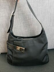 Salvatore Ferragamo black leather ajustable straps hobo women Shoulder Purse $80.00