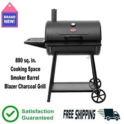 Blazer Charcoal Wood Grill 880 Sq. In. Cooking Space Bbq Smoker Barrel Black 🔥