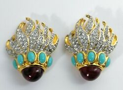 Rare Collectors Signed Elizabeth Taylors Eternal Flame Clip Earrings