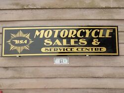 New 1950and039s-60and039s Style Bsa Motorcycle Dealer/service/parts Sign/ad Garage Art