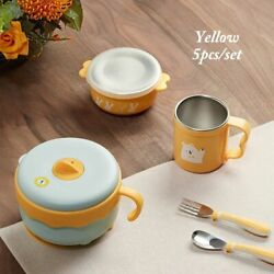 Baby Tableware Thermos Stainless Steel Feeding Bowl Spoon Fork Set Dinner Dishes