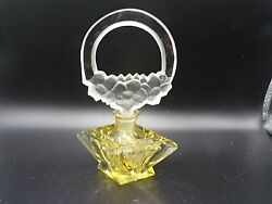 Vintage Czech Czechoslovakia Yellow Crystal Perfume Bottle With Stopper Signed