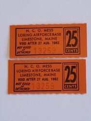 Loring Nco Mess Limestone Maine Air Force Base 1960's 25 Cents Paper Chit Token