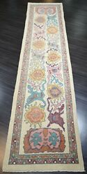 Turkish Oushak Village Runner, Hand Knotted With Traditional Design