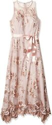 Tahari Asl Women's Sleeveless Sequin Embroidered Knit Gown