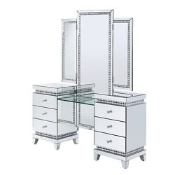 Vanity Desk, Mirrored And Faux Crystals