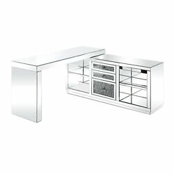 Built-in Usb Port Writing Desk, Clear Glass, Mirrored And Faux Diamonds
