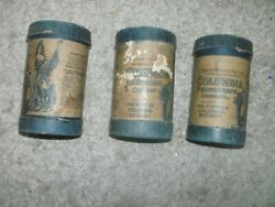 Lot Of 3 Edison Phonograph Cylinder Record And Box Set Columbia Records Free Ship