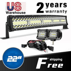 Tri-row 450w 22inch Led Work Light Bar+wiring Combo Driving Ute Truck Suv 24''