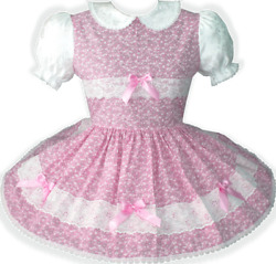 Pretty Lacy Floral Bows Adult Little Girl Sissy Dress Leanneand039s