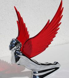 Red Winged Chrome Metal Flying Lady Hood Ornament With Free Light. New