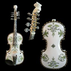 Deluxe Fancy White Color Profession Norwegian Fiddle 4/4 Violin 44 Strings