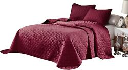 Oversize King,cal King Stitched Brown Color Quilted Flower Design Bedspread Cove
