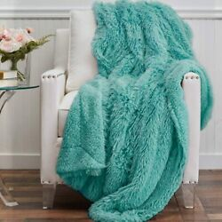 The Connecticut Home Company Shag With Sherpa Reversible Throw Blanket Many Col