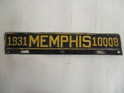 1931 Memphis Tennessee City License Plate Tag