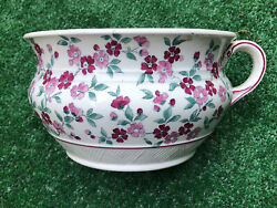Large Mid 19th Century Phlox Chamber Pot Bright Floral Pattern 9 In X 5 In