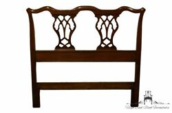 High End Solid Walnut Traditional Chippendale Style Splat Back Twin Headboard...