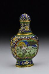Signed Chinese Cloisonne And Gilt Bronze Snuff Bottle W/ Bird Scenes 19th Century