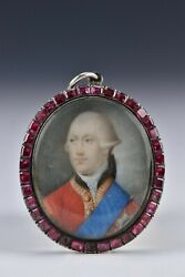 Miniature Portrait Painting Of King George The Iii Silver Frame With Garnets