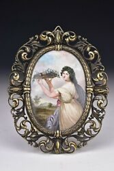 French Miniature Enamel On Copper Portrait Painting Of Lady Solid Silver Frame