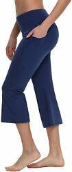 Baleaf Yoga Workout Capris For Women Lounge Flare Pants Casual Work Bootcut With