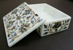 6x4 Inch Marble Box With Abalone Shell Stone Inlay Work Trinket Box Floral Art