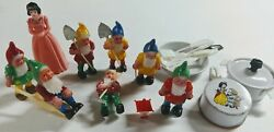 Vintage Snow White And The 7 Dwarves Collectible Toy Lot Cake Toppers Cookware