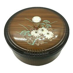Vintage Oriental Japanese Plastic Lacquer Bento Button Trinket Box With Lid