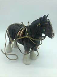 Vintage Ceramic Budweiser Draft Clydesdale Wagon Brown Horse And Harness