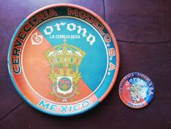 Antique Mexican 2 Corona Beer Tin Tray And Mini Tray From 20and039s 13 4 Rare Htf
